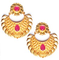 Matt Gold Chand Studs - Maheen EERA10399 Indian Jewellery