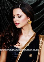 Matt Gold Chand Studs - Maheen EECK10400C Indian Jewellery