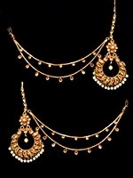 22k Gold plated Indian pearl earrings with saharas EEWA10956 Indian Jewellery
