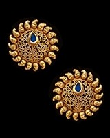 Sunray Large Indian 22k Stud Earrings - Royal Blue EELK11227 Indian Jewellery