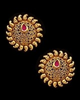 Sunray Large Indian 22k Stud Earrings - Rani Pink EEPK11229 Indian Jewellery