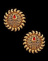 Sunray Large Indian 22k Stud Earrings - Blood Red EERK11230 Indian Jewellery