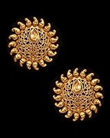 Sunray Large Indian 22k Stud Earrings - Golden EENK11231 Indian Jewellery