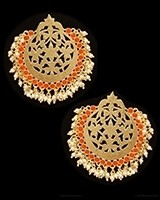 Mumtaz Oversized Asian Fretwork Earrings - Orange EEOK11234 Indian Jewellery
