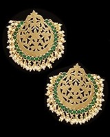 Mumtaz Oversized Asian Fretwork Earrings - Bottle Green EEGK11235 Indian Jewellery