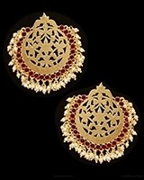 Mumtaz Oversized Asian Fretwork Earrings - Maroon Red EERK11237 Indian Jewellery