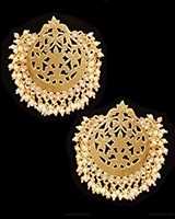 Mumtaz Oversized Asian Fretwork Earrings - Pearl EEWK11238 Indian Jewellery
