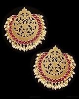 Mumtaz Oversized Asian Fretwork Earrings - Pearl EEWK11239C Indian Jewellery