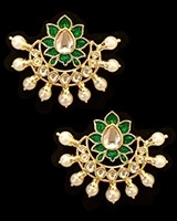 Crescent Moon & Lotus Flower, Pearl Oversized Asian Stud Earrings - Bottle Green EEGK11244 Indian Jewellery