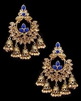 Chandbali Jhumki Indian Ear Ornaments - Royal Blue EALA11247 Indian Jewellery