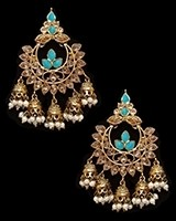 Chandbali Jhumki Indian Ear Ornaments - Sky Blue EALA11248 Indian Jewellery