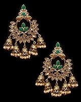 Chandbali Jhumki Indian Ear Ornaments - Bottle Green EAGA11249 Indian Jewellery