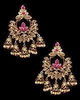 Chandbali Jhumki Indian Ear Ornaments - Fuchsia Pink EAPA11250 Indian Jewellery