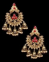 Chandbali Jhumki Indian Ear Ornaments - Blood Red EARA11251 Indian Jewellery
