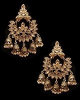 Chandbali Jhumki Indian Ear Ornaments - Champagne EANA11252 Indian Jewellery