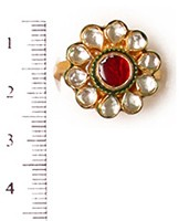 Small Kundan Mughal Ring RAMK04163 Indian Jewellery