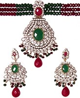 Indian Large Beaded Choker Set NSMA04110 Indian Jewellery