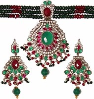 Indian Large Beaded Choker Set NSMA04111 Indian Jewellery