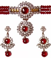 Indian Medium Beaded Choker Set NGRA04108 Indian Jewellery