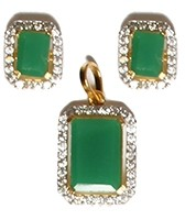 Small Emerald Cut Pendant Set NGWA10555C Indian Jewellery
