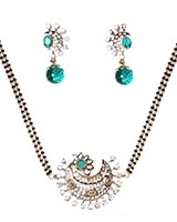 Teal American Diamond Mangalsutra Necklace MALA11278 Indian Jewellery