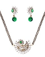 Bottle Green American Diamond Mangalsutra Necklace MAGA11279 Indian Jewellery