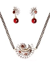 Maroon Red American Diamond Mangalsutra Necklace MARA11280 Indian Jewellery
