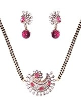 Raspberry Pink American Diamond Mangalsutra Necklace MAPA11281 Indian Jewellery