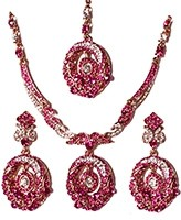 Elegant Crystal Pendant Set - Anjala NAWC10563C Indian Jewellery