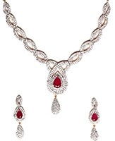 American Diamond Necklace Set NGRA04724 Indian Jewellery