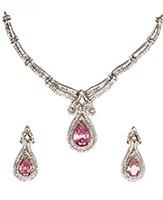 Fine American Diamond Baby Pink Necklace Set NGPA04723 Indian Jewellery
