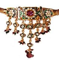 Intricate Meena Choker and Earrings Jewellery Set NGMP02895 Indian Jewellery