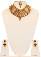 22k Effect Collar Large Necklace Set BGWK10053 Indian Jewellery