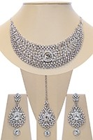 Crystal Collar Necklace Set - Silver Ella NSWC10484 Indian Jewellery
