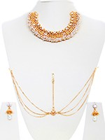 Pearl 22k Effect Designer Set - Rahee BEWA10740 Indian Jewellery