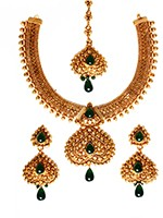 Gold-Green Banjaran Necklace Set BEGP10746 Indian Jewellery