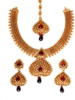 Gold-Maroon Banjaran Necklace Set NERP10747 Indian Jewellery