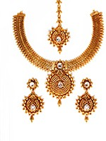 Gold-White Banjaran Necklace Set NEWA10748 Indian Jewellery