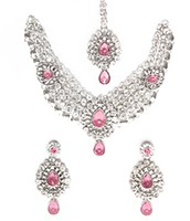 Silver Crystal Necklace Set - Katie NSWC10756C Indian Jewellery