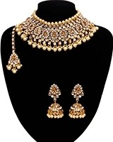Large Kundan & Pearl, Champagne Choker Set NGNK10913 Indian Jewellery