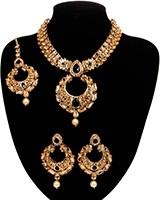 Asian Chand Design Pendant Necklace Set - Black NAKC10928 Indian Jewellery