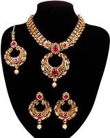 Asian Chand Design Pendant Necklace Set - Fuchsia Pink NAPC10929 Indian Jewellery