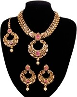 Asian Chand Design Pendant Necklace Set - Shabika NAOC10932C Indian Jewellery