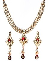 Luxury Maroon Kundan Necklace NERK10984 Indian Jewellery