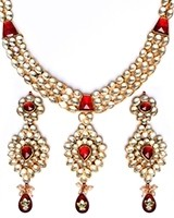 Luxury Maroon Kundan Necklace NERK10985 Indian Jewellery