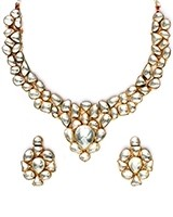 White Kundan Collar Necklace & Studs NEWK10988 Indian Jewellery