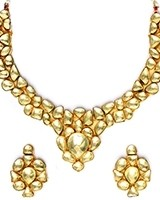 Golden Kundan Collar Necklace & Studs NENK10989 Indian Jewellery
