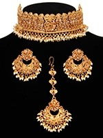 Wide Golden LCT Choker & Chand Earrings & Tikka NENA11047 Indian Jewellery