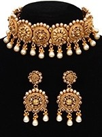 Pearl Drop  Matt Golden LCT Asian Choker & Earrings NENA11048 Indian Jewellery