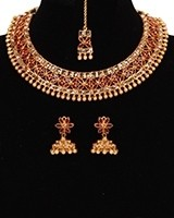 Red Indian Necklace Set with Jhumka Earrings